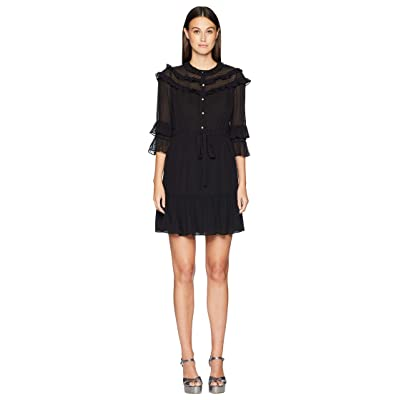 Rebecca Taylor Long Sleeve Georgette Clip Dress (Black) Women