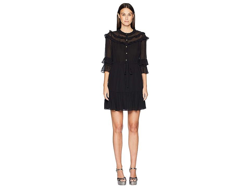 Rebecca Taylor Long Sleeve Georgette Clip Dress (Black) Women