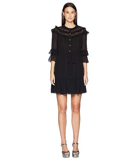 Rebecca Taylor Long Sleeve Georgette & Clip Dress