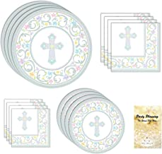 Baptism Party Supplies, First Communion, Blessed Day Cross Design, 18 Guests, 109 Pieces, Disposable Paper Dinnerware, Plate and Napkin Set