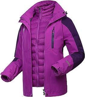 WOCTP 3-en-1 Chaqueta de esquí, Chaqueta Impermeable a Prueba de Viento Lluvia Puffer Liner Aislamiento Capa del Invierno ...