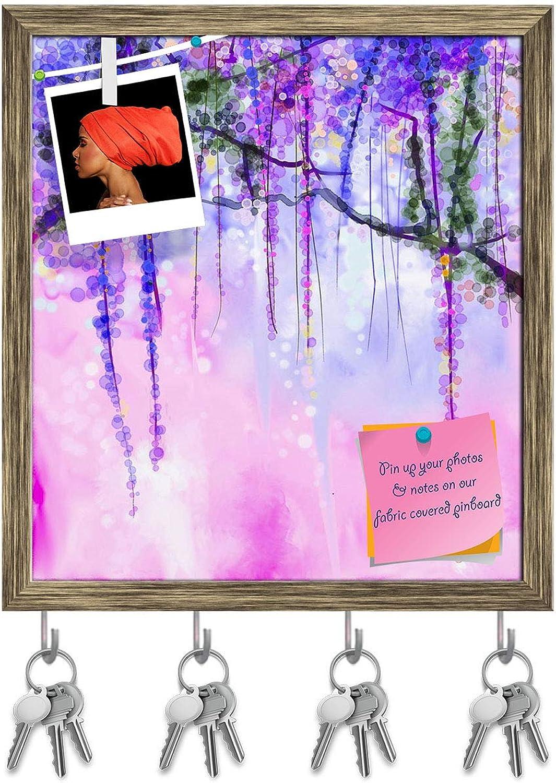 Artzfolio Spring Purple Flowers Wisteria D2 Key Holder Hooks   Notice Pin Board   Antique golden Frame 16 X 17.7Inch
