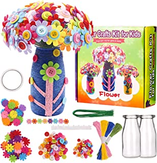 CGBOOM Flowers Crafts Kit for Kids, Fun DIY Craft Kit for Girls Boys Kids Arts, Colorful Button, Felt Flowers, Flower Vase Arts, Crafts Supplies Party for Children Age 4 5 6 7 8 9 10 Birthday Gift