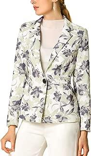 Women's Floral Print One Button Notched Lapel Blazer Jacket