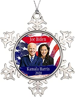 Christmas Ornaments Snowflake Joe Biden and Kamala Harris 2020 Us Election Metal Christmas Ornaments for Decorating Christ...
