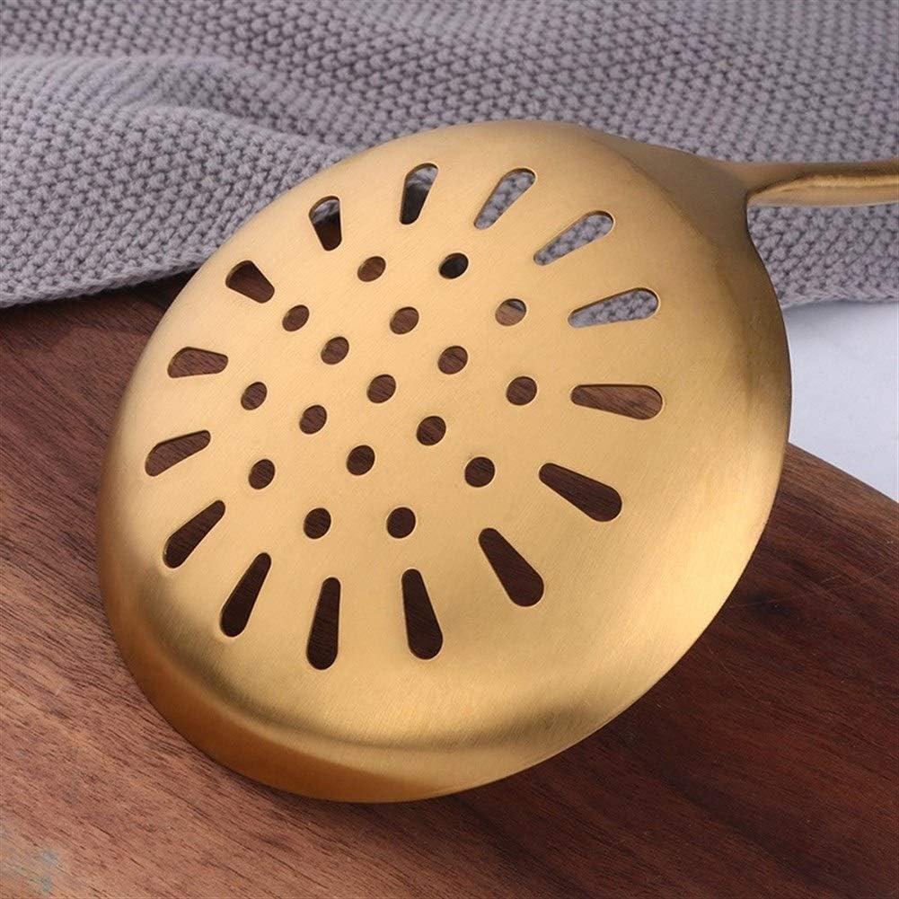 ZRDY 1pcs Edelstahl Küchenwerkzeug Gold-Cooking Set Spachtel Schaufel Suppenlöffel Tong Küchenzubehör Küchen Gadget (Color : 1 Serving Fork) 1 Slotted Turber