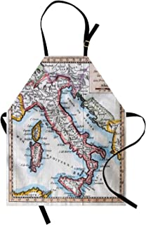 Ambesonne Wanderlust Apron, Colored XVIIIth Century Italy Map by Royal French Geographer Vaugondy Print, Unisex Kitchen Bib with Adjustable Neck for Cooking Gardening, Adult Size, Blush Blue
