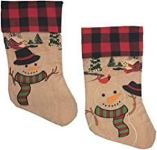 Christmas Holiday Buffalo Plaid Snowman Stocking Pair - Burlap Snow Character Print Hanging Stockings - 2 Piece Set