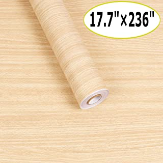 Wood Contact Paper Wood Grain Peel and Stick Wallpaper Self-Adhesive Wallpaper for Kitchen Cabinets Drawers Removable Wood Textured Wallpaper Vinyl Wall Decal Covering Film Roll (17.7