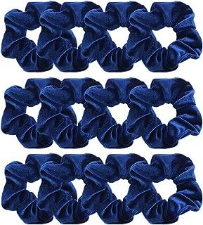 GUVASS 12 Pack Hair Scrunchies Navy Blue Velvet Elastics Scrunchy Bobbles Soft Hair Bands Hair Ties