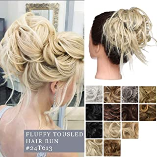 Fluffy Tousled Scrunchies Hair Bun Synthetic Curly Messy Hair Bun Wavy Donut Chignon Hairpiece With Elastic Rubber Band Updo Versatile Extensions For Women #24T613 ash blonde to bleach blonde