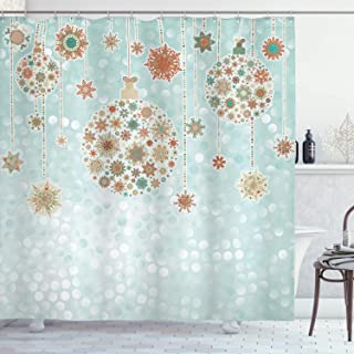Ambesonne Christmas Decorations Collection, Xmas Balls Vintage Bright Celebration Decor Winter Wonderland Themed Snowflakes, Polyester Fabric Bathroom Shower Curtain Set with Hooks, Blue Tan