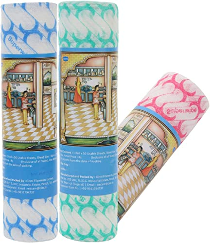 Ginni 6 Non-Woven Fabric Reusable and Washable Multi-Purpose Kitchen Swipe Rolls (30 X 25 cm, 50 Pulls Per Roll) -Pac...