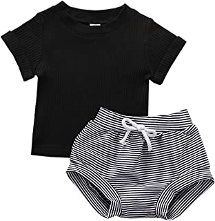 GRNSHTS Baby Boy Girls Summer Outfit Todder Boy Knit Short Sleeve Top + Pants Clothes Set