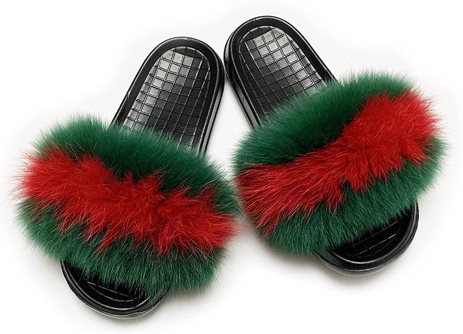 Women's Real Fox Fur Slides Slippers Sandal, Open Toe Cute Furry Fur Slippers, Indoor or Outdoor Comfortable Fur Slide Sandals with Fluffy Fur and Soft Sole