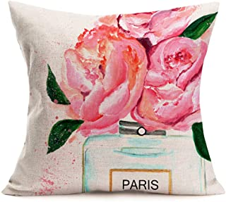 ShareJ Throw Pillow Cover Perfume Floral Hand Drawn French Perfume Watercolor Trend Aroma..
