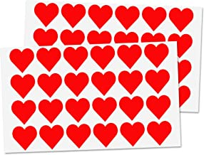"1"" Red Heart Sticker Labels - 50 Sheets, Pack of 1200"