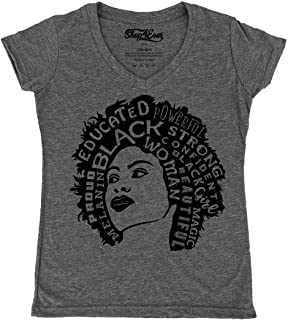 African American Woman Afro Word Cloud Women's V-Neck T-Shirt Slim Fit