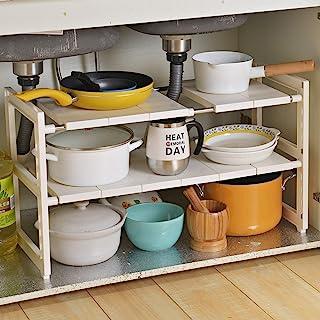 OBOR Spülbecken Organizer, 2 Etagen Multifunktion Küche Bad Aufbewahrung & Organisation Verstellbar Standregale(Weiß).