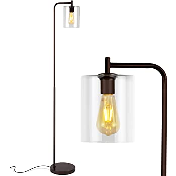 Brightech Elizabeth Industrial Floor Lamp with Glass Shade & Edison Bulb - Indoor Pole Light To Match Living Room or Bedroom in Farmhouse, Vintage, or Rustic Style - Standing, Tall Lighting - Bronze