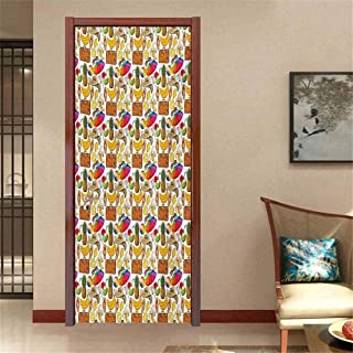 Summer Decorative Door Decal Vacation Themed Illustration with Straw Hat Banana Flip Flops and Travel Suitcase Stick The Picture on The Door Multicolor W30 x H80 INCH