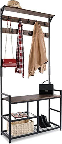 HOMEKOKO Coat Rack Shoe Bench Hall Tree Entryway Bench with Storage, Wood Look Accent Furniture with Metal Frame, 3-i...