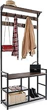 HOMEKOKO Coat Rack Shoe Bench Hall Tree Entryway Bench with Storage, Wood Look Accent Furniture with Metal Frame, 3-in-1 D...