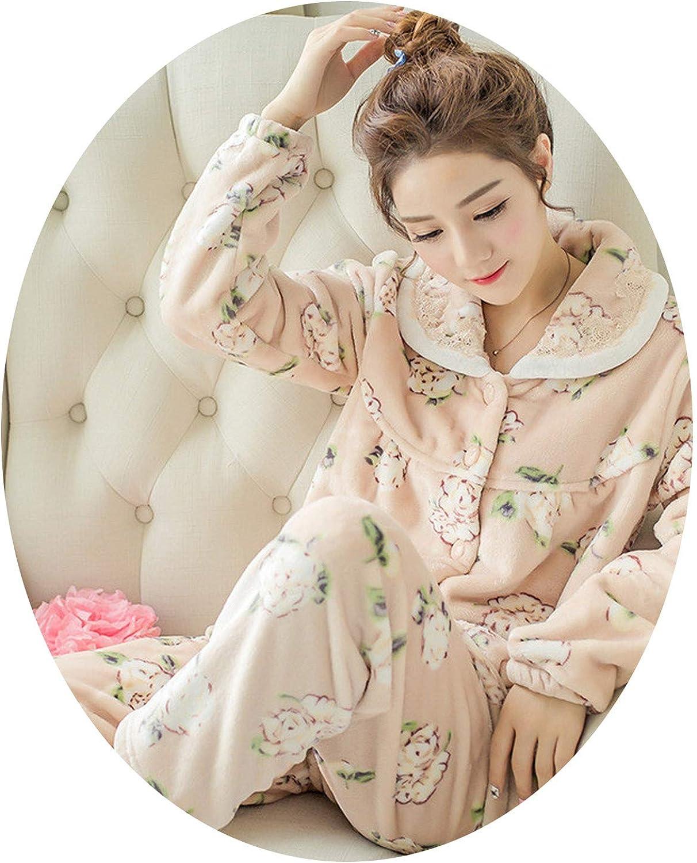 Winter Pajamas Set Women Sleepwear Warm Flannel Long Sleeves Pajamas Pink Cute Animal Homewear Thick Home Suit