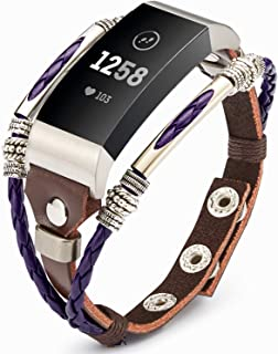 Compatible for Fitbit Charge 3 Bands for Women, Marval.P Handmade Leather Charge 3 SE Band, Replacement Unique Bracelet Strap, Wristbands with Adjustable Size, Fashion Wrist Band Straps Lover
