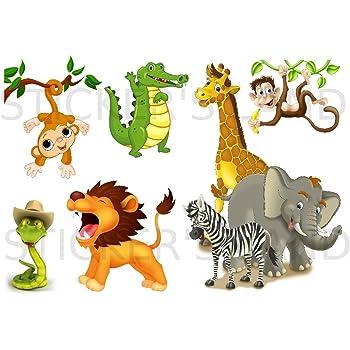 Planche stickers animaux jungle muraux mural scrapbooking enfants adultes maison cuisine salle de bain salon chambre bureau mur porte lit meuble vitre miroir boite mug autocollant waterproof A4