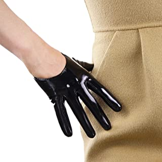 DooWay PU Black Super Long Women Fashion Gloves Evening Party Bar Sexy Opera Glossy Pair Finger Gloves Cosplay Matching