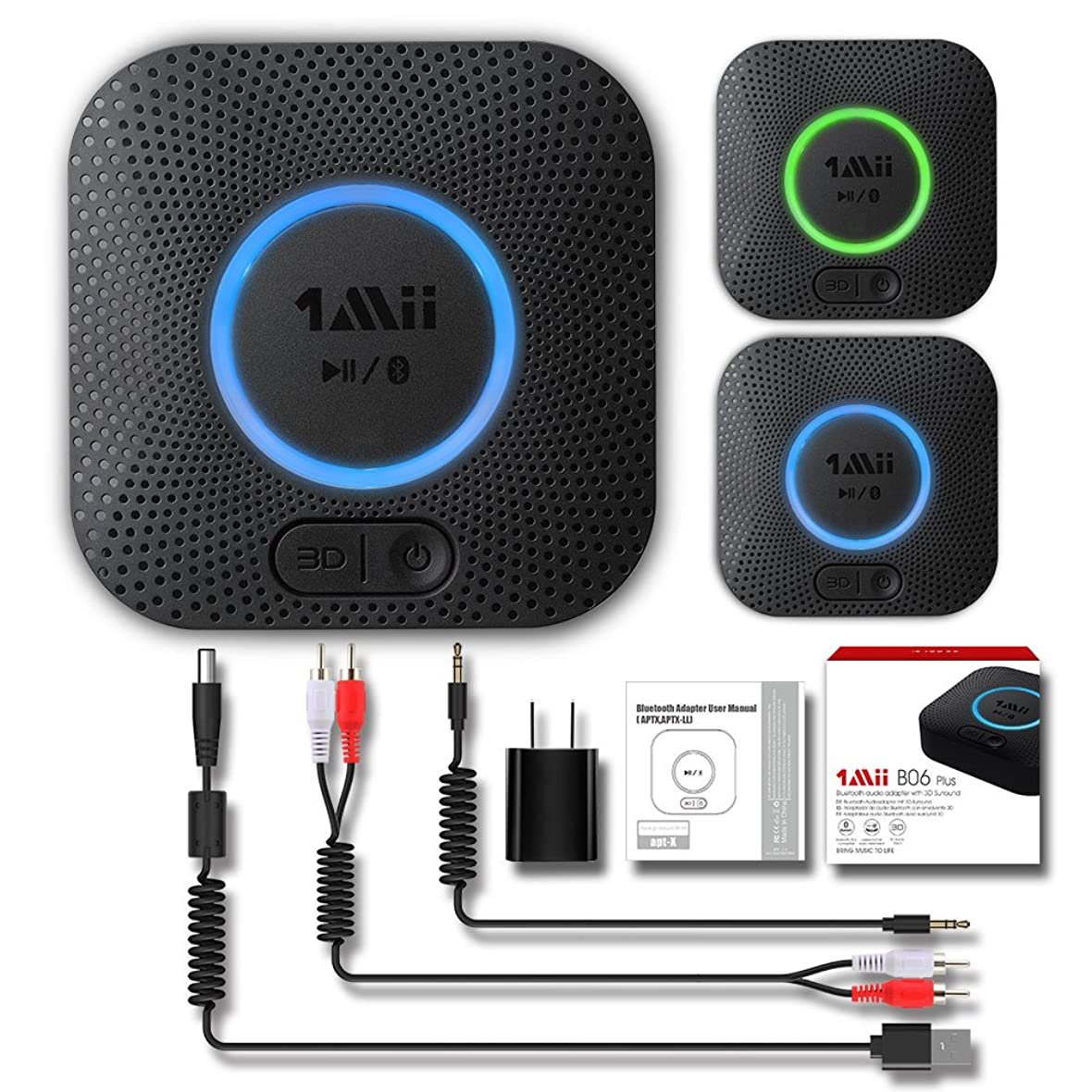 ピンベーシックキリスト教1Mii B06 Plus Bluetooth Receiver, HIFI Wireless Audio Adapter, Bluetooth 4.2 Receiver with 3D Surround aptX Low Latency for Home Music Streaming Stereo System (Upgraded With Power Adapter) 141[並行輸入]