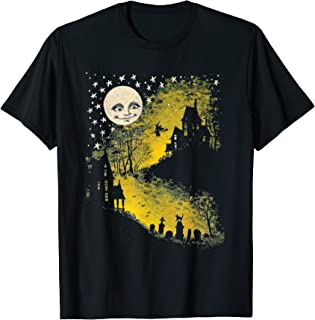 Vintage Halloween Haunted House, Moon, And Graveyard Gift T-Shirt