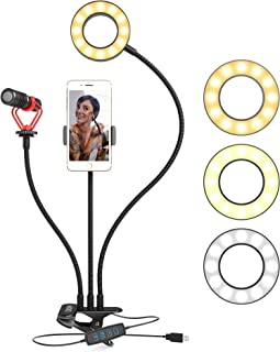 Movo Desk Ring Light with Stand and Phone Holder with VXR10 Video Microphone Compatible with iPhone, Android Smartphones - Smartphone Video Recording Kit Perfect for Vlogging and YouTube Equipment