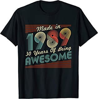 Made in 1989 T-Shirt Vintage 30th Birthday 30 years old Gift