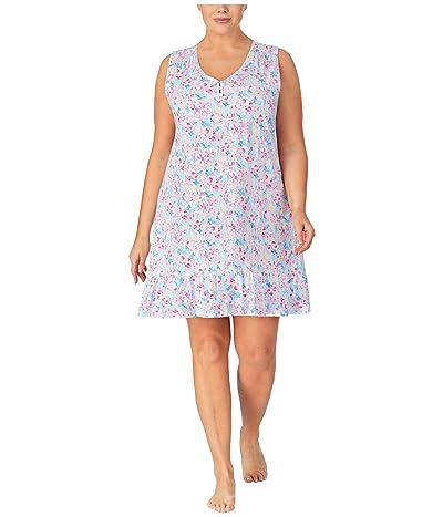 LAUREN Ralph Lauren Plus Size Classic Knits Sleeveless V-Neck Smocked Gown (Multi Floral) Women