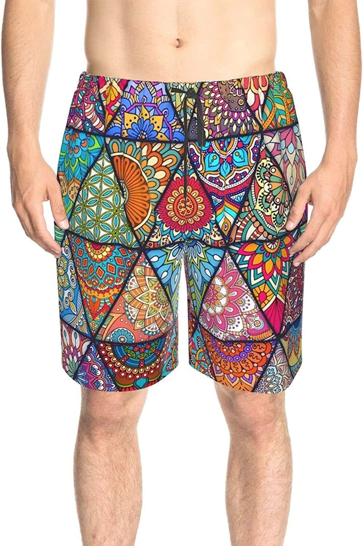 JINJUELS Men's Swim Trunks Hippie Mandala Beach Board Shorts Fast Dry Fashion Athletic Beach Short with Liner