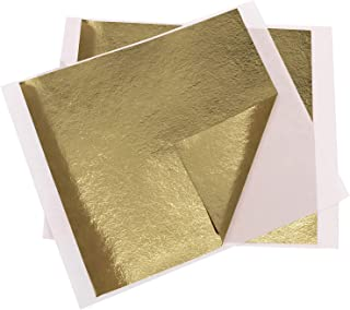 "VGSEBA Gold Leaf Sheets, Antique Gold Foil 5.11"" by 5.31"" 100PCS Gold Leaf for Paintings, Arts Crafts, Nail, Furniture"