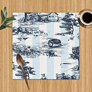 Classic Old Townvillage Scenes Countryside Abstract Jouy The Arts Washable Placemats for Dining Table Double Fabric Printing Polyester Place Mats for Kitchen Table Set of 6 Table Mat 12