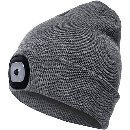 Winter Warm Gifts for Men Dad Him Women Knit Lighted Headlight Headlamp Cap Running at Night,Biking,Fishing,Camping,Hunting Isobel Beanie Hat with Light USB Rechargeable Unisex LED Beanie hat