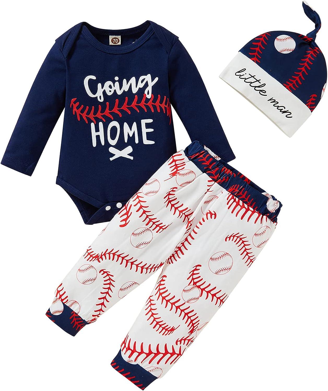 Baby Boy Girl Clothes Newborn Boys Girls Long Sleeve Coming Home Romper Baseball Legging Pants Set Outfits