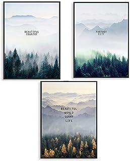 SWECOMZE Zestaw 3 plakatów, las, natura, obrazy ścienne, b