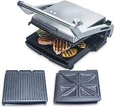 Solis Grill & More 7952 - Parrilla eléctrica y Sandwichera - Placas extraíbles - Acero inoxidable - 28 x 28 cm