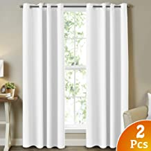 Pure White Curtains for Living Room Light Reducing Curtains 96 Inch Drapes Window Treatment Panels Themal Insulated Grommet/Eyelet Top Nursery & Infant Care Curtains Each Panel 52