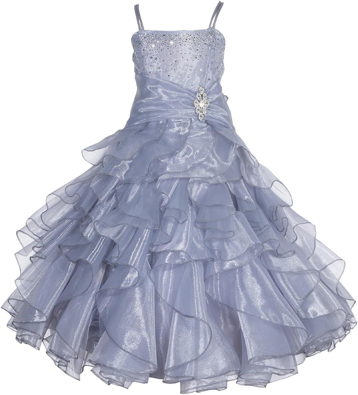 ekidsbridal Elegant Stunning Rhinestone Organza Pleated Ruffled Flower Girl Dress Wedding 164s
