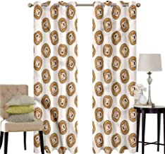 hengshu Lion Bedroom Curtains Blackout Shades Cartoon Style Big Feline Heads Darkening Drapes for Bedroom W72 x L96 Inch