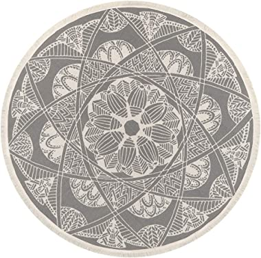 Seavish Round Area Rug, 4ft Grey and Cream Mandala Geometric Chic Bohemian Mandala Print with Hand Woven Tassels Living Room