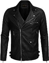 COOFANDY Men's Police Style PU Leather Motorcycle Zipper Biker Jacket