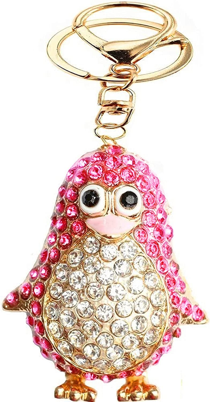 Cute Penguin Keychain Blingbling Keyring Crystal Rhinestones Purse Pendant Handbag Charm (Pink)