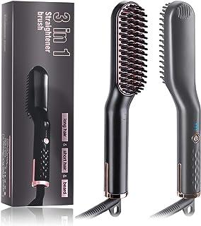 Beard Straightener for Men - Premium Ceramic Anti-Scald Electric Ionic Heated Beard Brush Hair Flat Curling Iron- Fast Sha...
